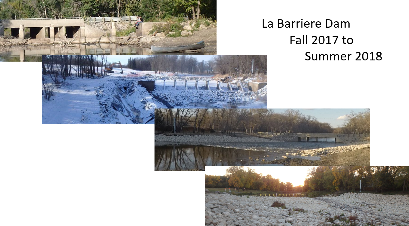 Collage of dam from 2017 to 2018